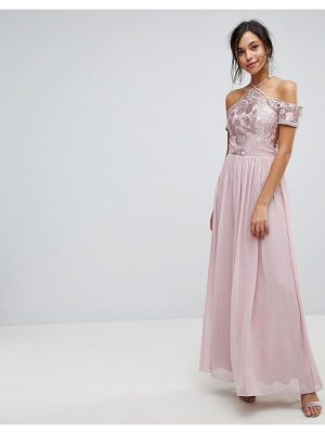 Chi Chi London halter maxi with off shoulder lace detail in mink