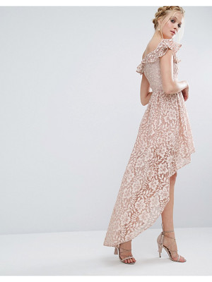 Chi Chi London lace asymmetric off the shoulder dress with frill details