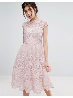Chi Chi London premium lace midi prom dress with bardot neck in mink-pink