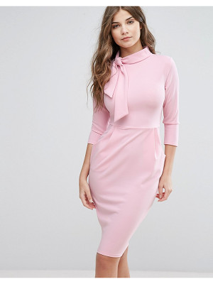 City Goddess 3/4 Sleeve Tie Neck Pencil Dress
