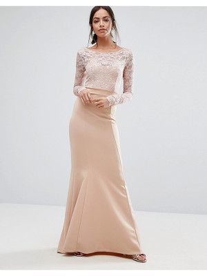 CITY GODDESS Bow Back Maxi Dress With Lace Body