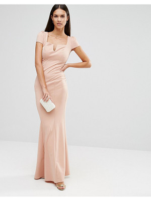 City Goddess Capped Sleeve Maxi Dress With Square Neck