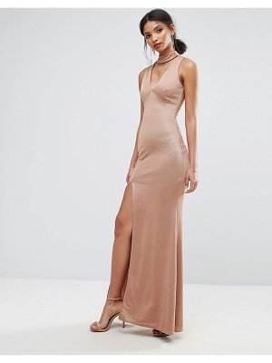 City Goddess Choker Neck Maxi Dress With Side Split