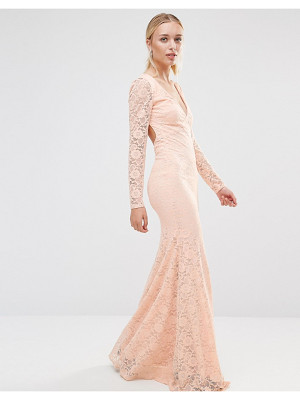 CITY GODDESS Long Sleeve Open Back Lace Maxi Dress