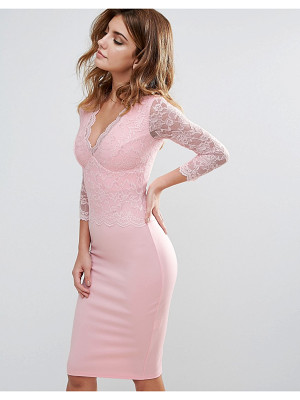City Goddess Long Sleeve V Neck Lace Pencil Dress
