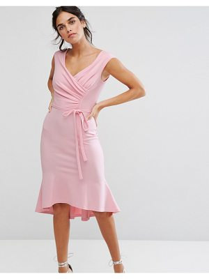 City Goddess Wrap Front Peplum Midi Dress