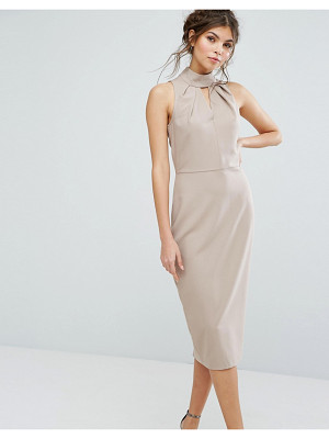 CLOSET LONDON High Neck Midi Dress With Keyhole Detail