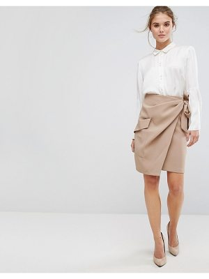 CLOSET LONDON Closet Pleated Tie Waist Wrap Skirt