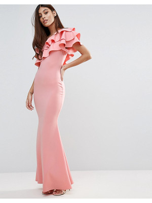 Club L bridesmaid one shoulder ruffle detail maxi dress
