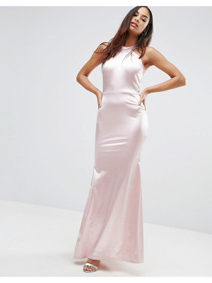 Club L Halterneck Detail Satin Fishtail Maxi Dress