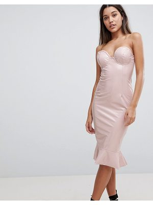 Club L high shine bandeau bodycon dress with frill hem