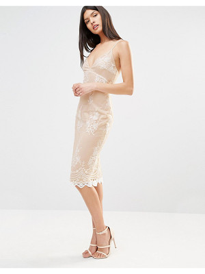 Club L Lace Applique Cami Strap Detailed Midi Dress