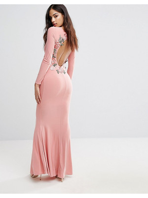 Club L Long Sleeve Maxi Dress With Embroidered Floral Back Detail