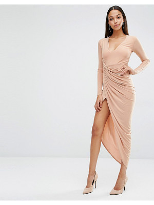 Club L Plunge Neck Maxi Dress With Wrap Skirt