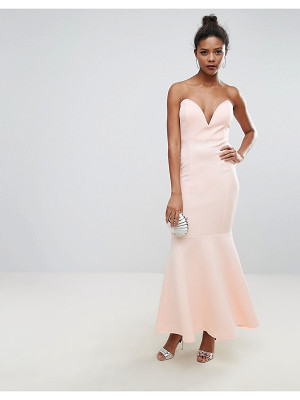 CLUB L Scuba Deep Plunge Bandeau Maxi Dress
