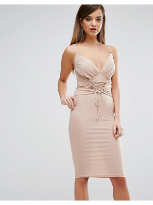 Club L Slinky Corset Tie Up Detail Cami Midi Dress