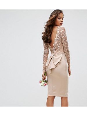 Club L Tall Allover Lace Top Midi Dress With Open Bow Back