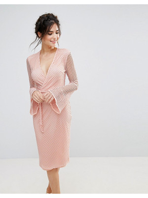 CLUB L V Neck Fishnet Flute Sleeve Midi Dress