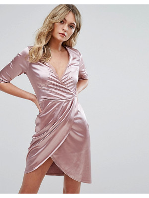 Club L Wrap Dress In Satin