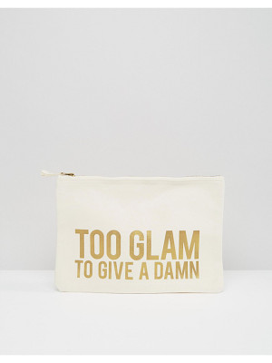 Crazy Haute 'Too Glam To Give A Damn' Slogan Canvas Clutch Bag