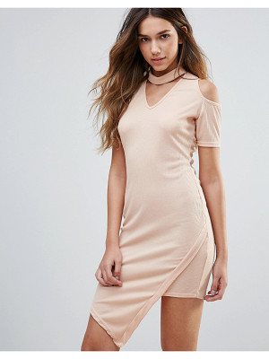 DAISY STREET Cold Shoulder Dress With Choker Neckline
