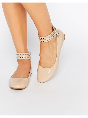 Daisy Street Multi Ankle Strap Nude Flat Shoes