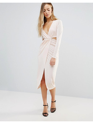 Daisy Street Wrap Front Dress With Cut Out Sides