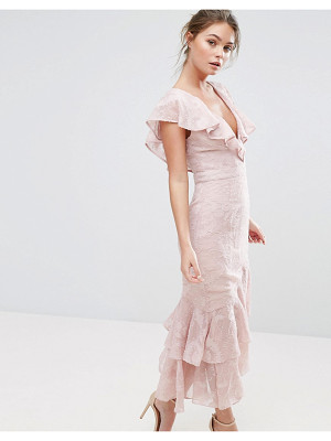 Dark Pink Burn Out Midi Dress With Ruffle Sleeve And Hem
