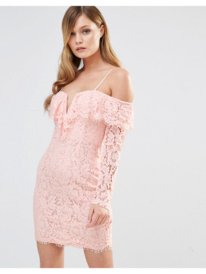 Dark Pink Off Shoulder Frill Dress