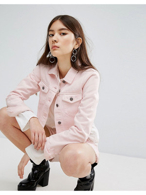 DR DENIM Cropped Frayed Pink Jacket