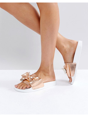 DUNE London Lovelle Rose Gold Bow Slides
