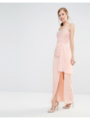 Elise Ryan Bandeau Maxi Dress With Lace Bodice & Embellishment