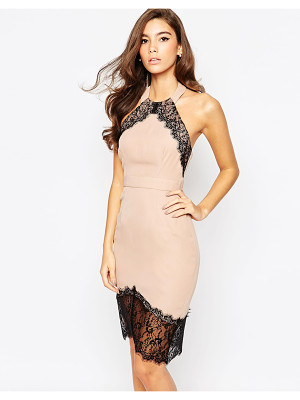 Elise Ryan Body-Conscious Dress With Asymmetric Lace Hem