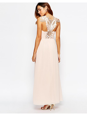 Elise Ryan Cowl Maxi Dress With Lace Applique Back