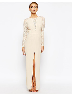 Elise Ryan Lace Maxi Dress With Deep V Plunge Neck and Thigh Split