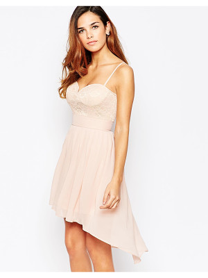 Elise Ryan Lace Sweetheart Skater Dress With High Low Hem