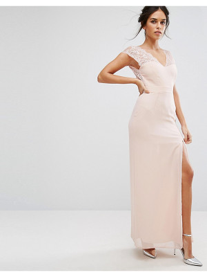 Elise Ryan Maxi Dress With Eyelash Lace Sleeve And V Back