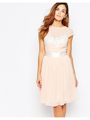 Elise Ryan Midi Skater Dress With Floral Lace Applique