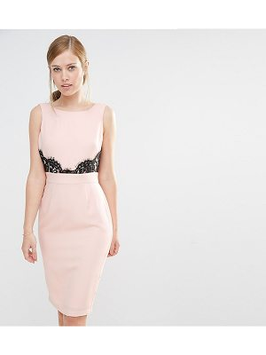 Elise Ryan V Back Pencil Dress With Lace Trim
