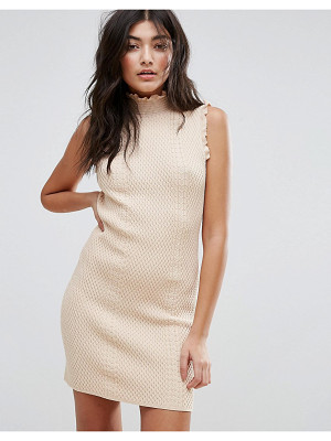 ENDLESS ROSE High Neck Textured Bodycon Dress