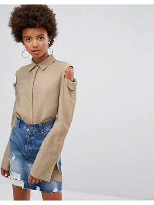 EVIDNT cold shoulder shirt