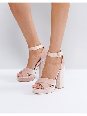Faith Blush Velvet And Satin Platform Sandals