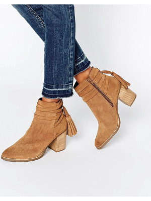 FAITH Tassle Suede Heeled Ankle Boots