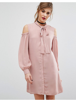 Fashion Union Cold Shoulder Dress With Tie Up Bow Neck