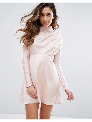 FASHION UNION High Neck Dress In Satin
