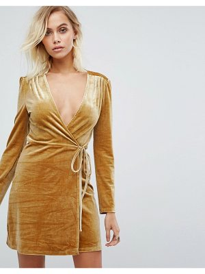 FASHION UNION Wrap Dress In Golden Velvet