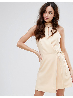 FASHION UNION Wrap Dress With High Neck