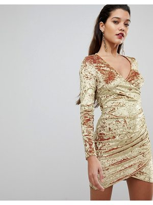 FLOUNCE LONDON Wrap Ruched Mini Dress In Electric Velvet