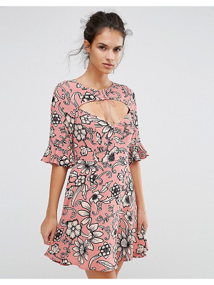 FOR LOVE AND LEMONS For Love And Lemons Ayla Laced Up Dress In Print