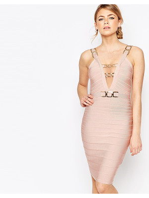 FOREVER UNIQUE Bandage Midi Dress With Chain Detail
